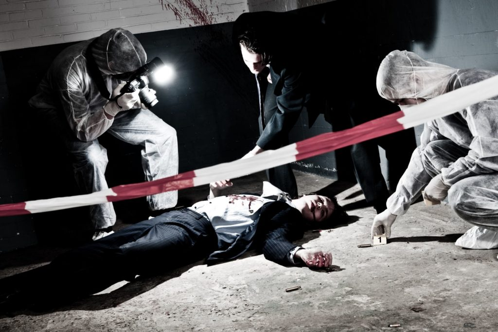 Body lying in a crime scene with CSI